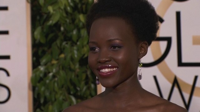 Lupita Nyong'o at the 2015 Golden Globe Awards in Los Angeles, CA, January 11, 2015. (File Photo, CNN)