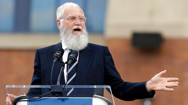 (AP Photo/Darron Cummings, File). FILE - In this Saturday, Oct. 7, 2017, file photo, David Letterman speaks during the unveiling of a Peyton Manning statue outside of Lucas Oil Stadium, in Indianapolis. Letterman is being honored with the Mark Twain Pr...