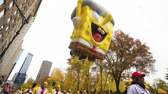 A SpongeBob SquarePants float is seen on 59th Street during the Macy's Thanksgiving Day Parade on Thursday, Nov. 24, 2016, in New York. (Photo by Scott Roth/Invision/AP)