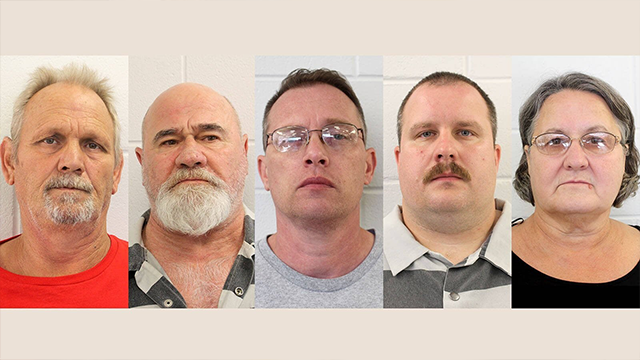 (Source: CNN) From left, Bill Moore Sr. and Frankie Gebhardt have been charged with murder in Coggins' death, while Gregory Huffman, Lamar Bunn and his mother, Sandra Bunn, have been charged with obstruction, police say.