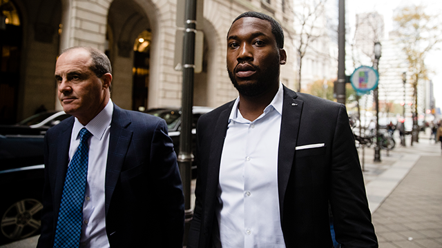 (AP Photo/Matt Rourke) Rapper Meek Mill, right, accompanied by his defense attorney Brian Mcmonagle arrives at the criminal justice center in Philadelphia, Monday, Nov. 6, 2017.