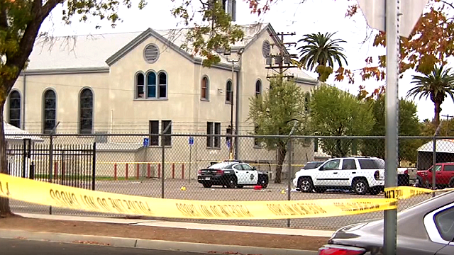 A man shot and killed his estranged wife and her boyfriend outside a Catholic church in centralCaliforniaand then shot himself at his home, authorities said.(KFSN via CNN)