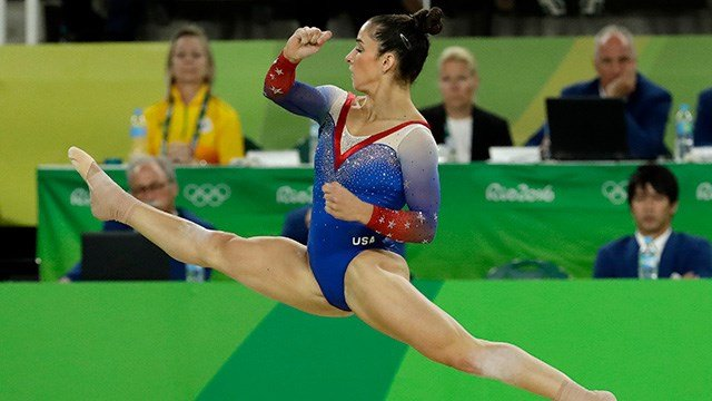 United States' Aly Raisman performs on the floor during the artistic gymnastics women's apparatus final at the 2016 Summer Olympics in Rio de Janeiro, Brazil, Tuesday, Aug. 16, 2016. (AP Photo/Dmitri Lovetsky)