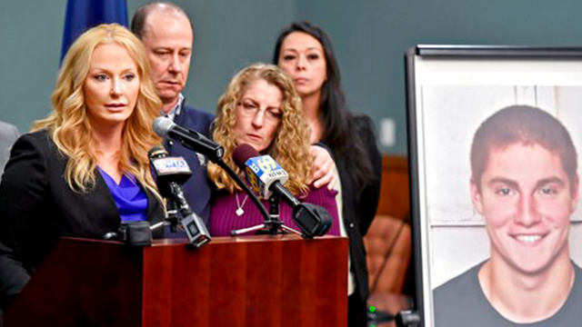 (Abby Drey/Centre Daily Times via AP, File)/Centre Daily Times via AP). FILE – In this May 5, 2017, file photo, Centre County, Pa., District Attorney Stacy Parks Miller, left, announces findings an investigation into the death of Penn State University ...