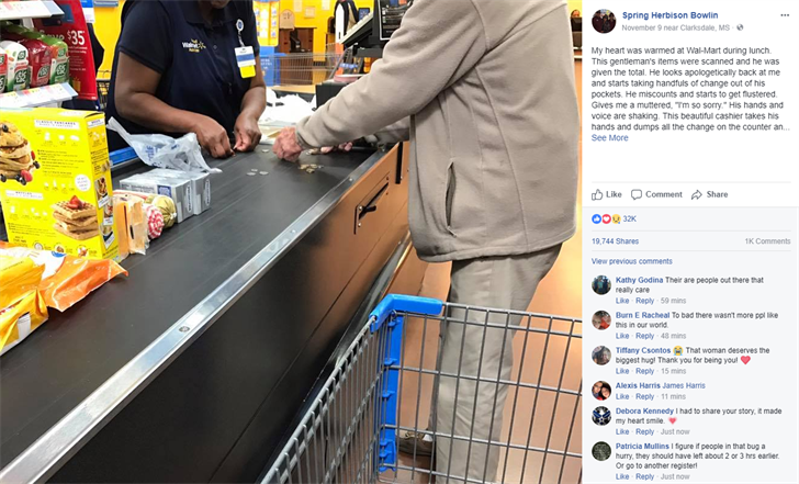 Heartwarming photo shows Mississippi Walmart cashier helping man struggling to count change