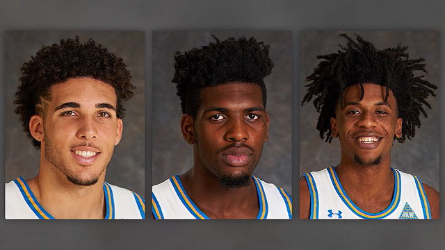 Citing a person close to the situation, the Los Angeles Times reported that UCLA freshmen LiAngelo Ball (left), Cody Riley (center) and Jalen Hill (right) were involved in a shoplifting incident in China. (UCLA)