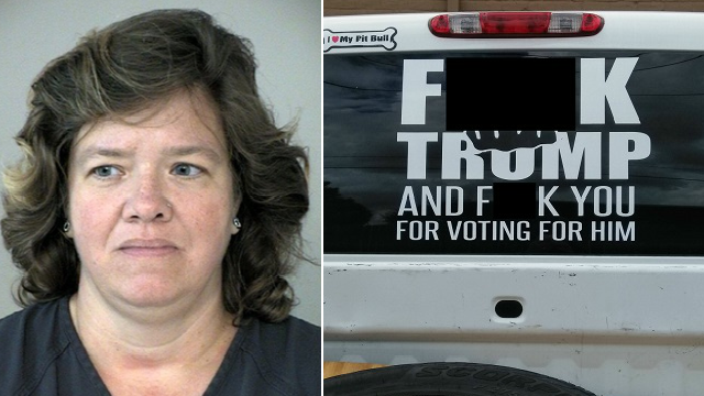 Karen Fonseca was arrested on Thursday on an outstanding fraud warrant issued in August. Prior to her arrest, the Fort Bend County Sheriff had threatened Fonseca with a disorderly conduct charge over anti-Trump truck decal on her truck. (FBCSO)