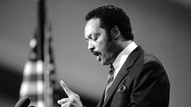 The Rev. Jesse Jackson gestures during his speech to the Democratic National Convention in San Franciscoís Moscone Center, Tuesday, July 17, 1984. (AP Photo)
