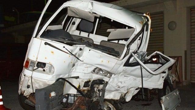 (Kazuki Sawada/Kyodo News via AP) A Japanese driver's damaged vehicle is placed at a police station in Naha, Okinawa, southern Japan Sunday, Nov. 19, 2017.