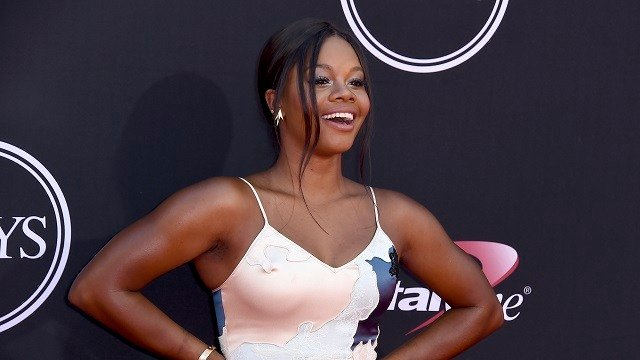 Gymnast Gabby Douglas arrives at the ESPYS at the Microsoft Theater on Wednesday, July 12, 2017, in Los Angeles. (Photo by Jordan Strauss/Invision/AP)