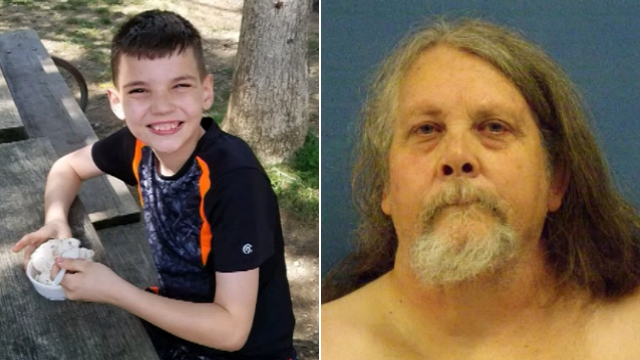 Donald Martin Jr.,58, (right) is charged in the death of his step-grandson Dylan Davis, 11. (WLWT via CNN)