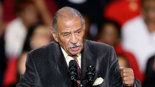 """(AP Photo/Carlos Osorio, File) FILE - In this Nov. 1, 2014, file photo, Rep. John Conyers, D-Mich., speaks at Wayne State University in Detroit. Democrats have been quick to support the """"me too"""" chorus of women _ and some men _ who have stepped up to..."""