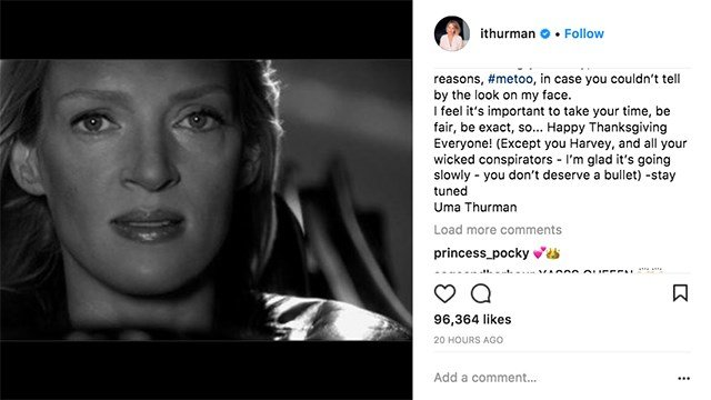 Uma Thurman Personally Calls Out Harvey Weinstein With Intense #MeToo Post