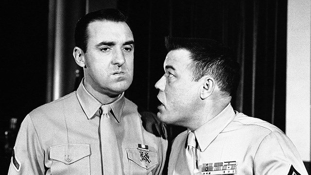 Jim Nabors, left., and Frank Sutton, in the TV series 'Gomer Pyle-USMC' in character in April 1964. . (AP Photo)
