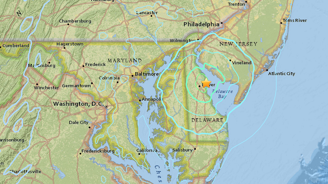 Magnitude Earthquake Recorded Near Dover, Delaware