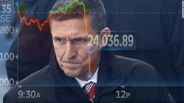 The Dow dropped by as much as 250 points on a report that Michael Flynn is prepared to testify against President Trump.
