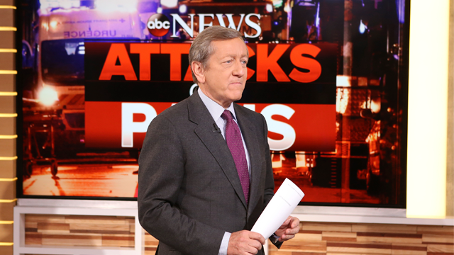"In this Nov. 16, 2015 photo provided by ABC, correspondent Brian Ross speaks on ""Good Morning America,"" which airs on the ABC Television Network, in New York. (Fred Lee/ABC via AP)"