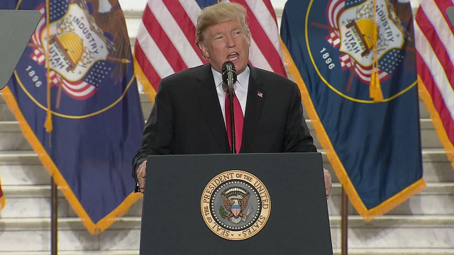 President Trump visits Utah for the first time as president. Trump is seen here speaking at the Utah Capitol, where he announced significant reductions to Bears Ears National Monument and Grand Staircase-Escalante National Monument.