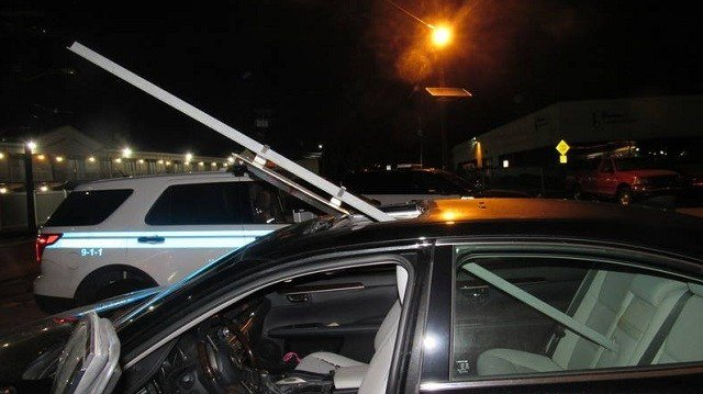 Drunken woman drives miles without noticing sign impaled in sunroof