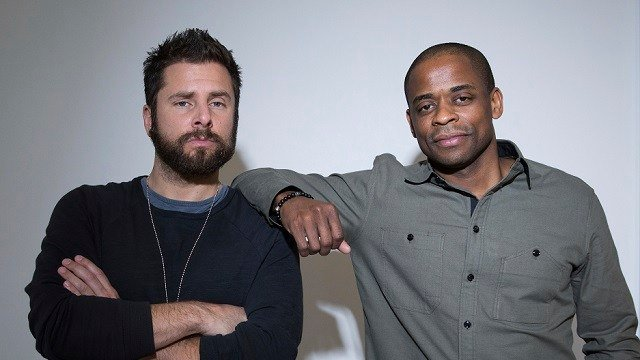 "In this Nov. 27, 2017 photo, actors James Roday, left, and Dule Hill pose for a portrait in New York to promote their TV film, ""Psych: The Movie,"" debuting Thursday on USA. (Photo by Amy Sussman/Invision/AP)"