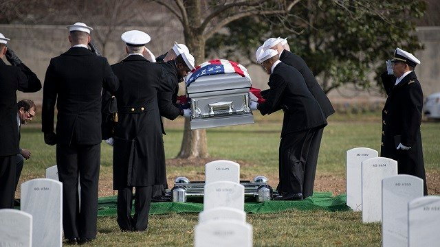 Radioman 3rd Class Howard W. Bean, from Everett, Mass., assigned to the Battleship USS Oklahoma (BB 37) during World War II, was laid to rest in Arlington National Cemetery Dec. 6. (U.S. Navy photo, 2nd Class Jonathan B. Trejo)