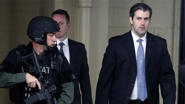 In this Monday, Dec. 5, 2016, file photo, former South Carolina officer, Michael Slager, right, walks from the Charleston County Courthouse under the protection of the Charleston County Sheriff's Department. (AP Photo/Mic Smith, File)