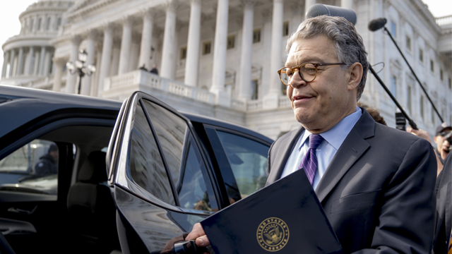 Sen. Al Franken, D-Minn., leaves the Capitol after speaking on the Senate floor, Thursday, Dec. 7, 2017, on Capitol Hill in Washington. (AP Photo/Andrew Harnik)