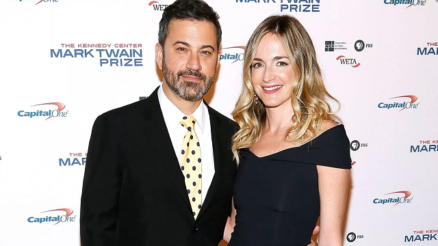 (Source: CNN) Jimmy Kimmel and his wife Molly McNearney arrive to the 2017 Mark Twain Prize for American Humor at The Kennedy Center on October 22 in Washington.