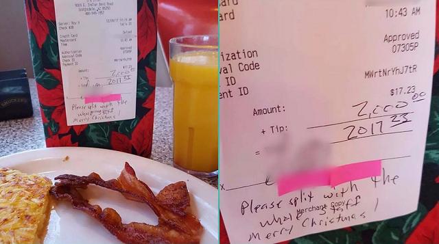 Man leaves $2K tip on $17 bill