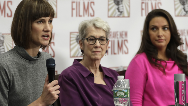 Rachel Crooks, left, Jessica Leeds, center, and Samantha Holvey attend a news conference, Monday, Dec. 11, 2017, in New York to discuss their accusations of sexual misconduct against Donald Trump. (AP Photo/Mark Lennihan)