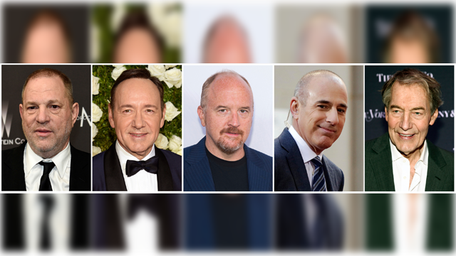 """This combination photo shows, from left, producer Harvey Weinstein, actor Kevin Spacey, actor-comedian Louis C.K., NBC """"Today"""" show host Matt Lauer and """"CBS This Morning"""" host Charlie Rose. (AP Photo/File)"""