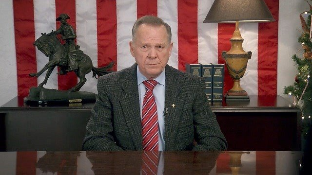 (Source: WALA) Roy Moore releases a video statement on YouTube 24 hours after his senate defeat.