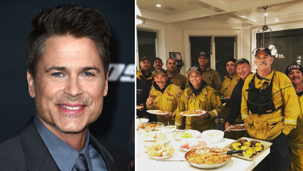 Rob Lowe showers firefighters with burgers, thanks after home saved