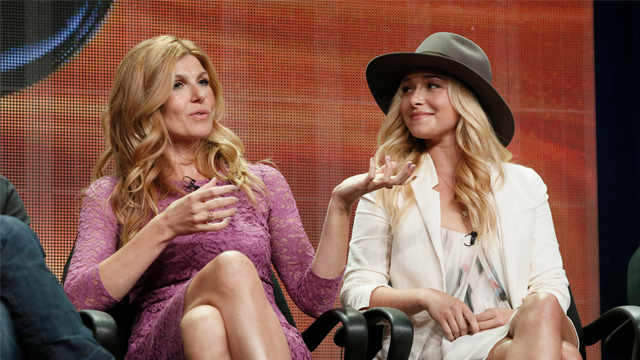 """In this July 27, 2012, file photo, Connie Britton, left, and Hayden Panettiere attend the """"Nashville"""" panel at the Disney ABC TCA Day 2 at the Beverly Hilton Hotel in Beverly Hills, Calif. (Photo by Todd Williamson/Invision/AP, File)"""