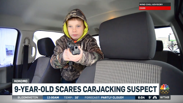 Larry Larimore, 9, stopped a suspected carjacker on Christmas. (Credit: WTHR, Screenshot)
