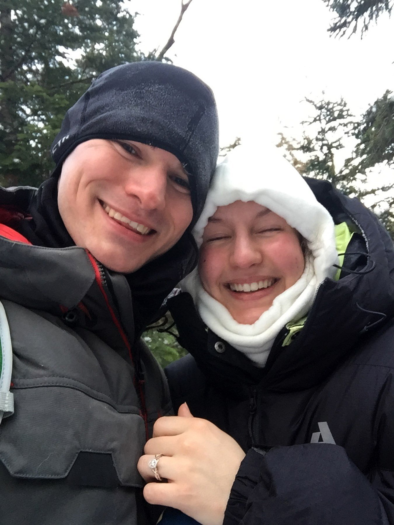 (AP Photo/Doug Darnell) Josh Darnell, of Londonderry, New Hampshire, proposed to Rachel Raske, of Lowell, Massachusetts, on Thursday, Dec. 28, 2017, in Tuckerman's Ravine, New Hampshire, on the same day the temperature dropped to minus-34...