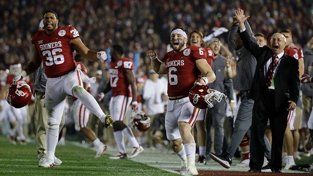 Oklahoma quarterback Baker Mayfield (6) celebrates after defensive back Steven Parker recovered a fumble and scored a touchdown against Georgia during the second half of the Rose Bowl NCAA college football game, Monday, Jan. 1, 2018. (AP Photo/Jae Hong)