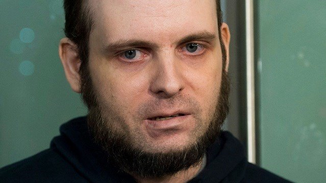 (Nathan Denette/The Canadian Press via AP) FILE- In this Oct. 31, 2017, file photo, Joshua Boyle speaks to the media after arriving at the Pearson International Airport in Toronto.