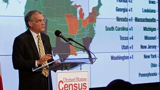 Census Bureau Director Robert Groves announces results for the 2010 U.S. Census at the National Press Club, Tuesday, Dec. 21, 2010, in Washington. (AP Photo/Jacquelyn Martin)