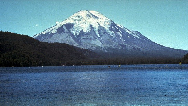 In this undated photo provided by the USGS, Mount St. Helens and Spirit Lake are shown prior to the devastating 1980 eruption. (AP Photo/USGS)