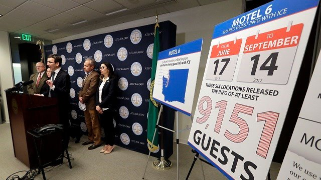 (AP Photo/Elaine Thompson) Washington state Attorney General Bob Ferguson addresses a news conference Wednesday, Jan. 3, 2018, in Seattle, announcing that his office is suing Motel 6.