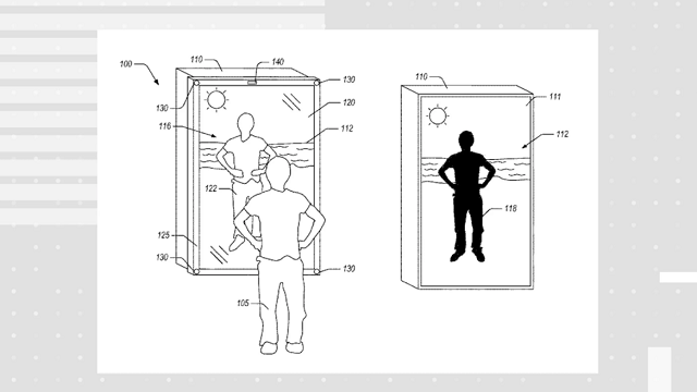 Amazon was granted a patent for a blended reality mirror, which could superimpose virtual clothing onto your reflection. (Credit: US Patent and Trademark Office/CNNMoney)