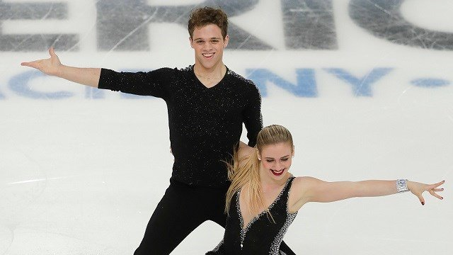 Rachel Parsons and Michael Parsons, of the United States, perform during the ice dance short dance at Skate America, Saturday, Nov. 25, 2017, in Lake Placid, N.Y. (AP Photo/Julie Jacobson)