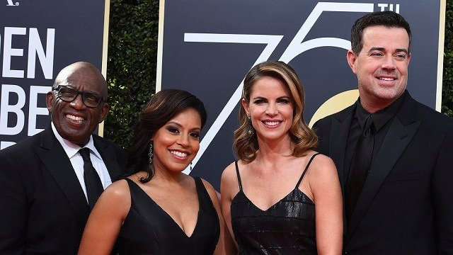 Al Roker, from left, Sheinelle Jones, Natalie Morales and Carson Daly arrive at the 75th annual Golden Globe Awards at the Beverly Hilton Hotel on Sunday, Jan. 7, 2018, in Beverly Hills, Calif.  (AP Image)