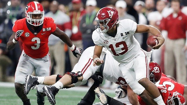 Alabama quarterback Tua Tagovailoa runs during the second half of the NCAA college football playoff championship game against Georgia, Monday, Jan. 8, 2018, in Atlanta. (AP Photo/David Goldman)