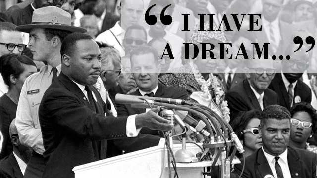 "In this Aug. 28, 1963 file photo, the Rev. Dr. Martin Luther King Jr., delivers his ""I Have a Dream"" speech in Washington, D.C. (AP Photo/File)"