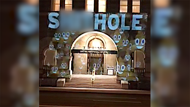 'S---hole' projected onto Trump Hotel in DC