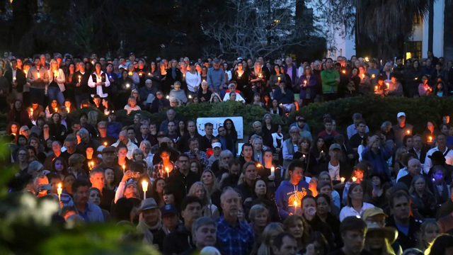 People attend a candlelight vigil in Santa Barbara, Calif., Sunday, Jan. 14, 2018, to pay tribute to the people who were killed when mudslides ravaged a Southern California. (Mike Balsamo/Associated Press)