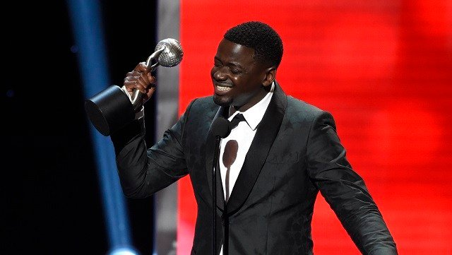 "Daniel Kaluuya accepts the award for outstanding actor in a motion picture for ""Get Out"" at the 49th annual NAACP Image Awards at the Pasadena Civic Auditorium on Monday, Jan. 15, 2018, in Pasadena, Calif. (Photo by Chris Pizzello/Invision/AP)"