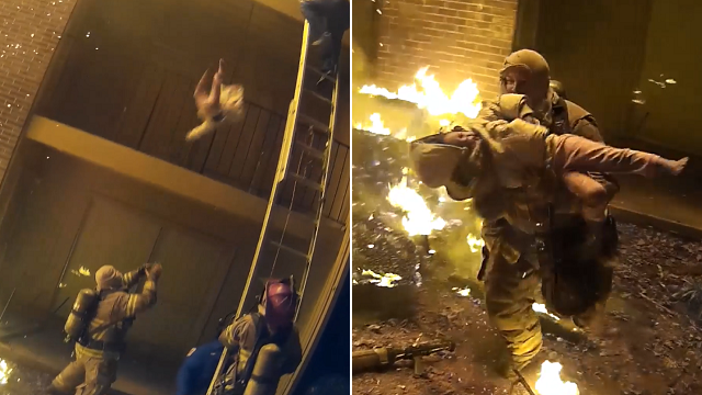 Firefighter catches child tossed from burning building in remarkable rescue